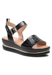 Nessi - Sandały NESSI - 21062 Czarny. Okazja: na co dzień. Kolor: czarny. Materiał: skóra. Wzór: aplikacja. Sezon: lato. Styl: casual