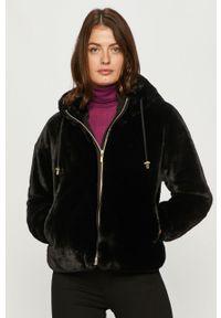 Czarny płaszcz Geox casualowy, z kapturem, na co dzień