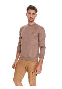 TOP SECRET - Bluza męska z aplikacją. Kolor: beżowy. Materiał: tkanina, bawełna. Długość rękawa: długi rękaw. Długość: długie. Wzór: aplikacja. Sezon: lato