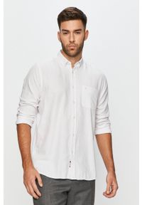 Biała koszula Cross Jeans z długim rękawem, na co dzień, casualowa, button down