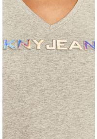 Szara bluzka DKNY z nadrukiem, na co dzień, casualowa