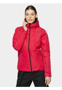 Różowa kurtka narciarska 4f z kapturem, na zimę, z nadrukiem