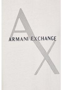 Armani Exchange - T-shirt. Okazja: na co dzień. Kolor: biały. Materiał: dzianina. Wzór: nadruk. Styl: casual