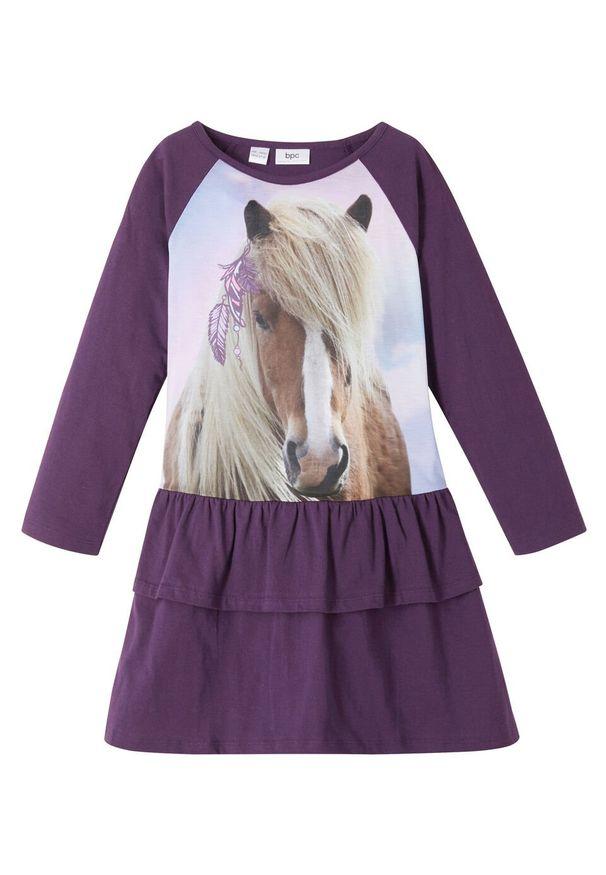 Fioletowa sukienka bonprix z nadrukiem