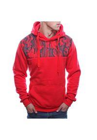 Czerwona bluza z kapturem Recea moro, na co dzień, casualowa
