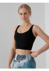 4f - Top do jogi z materiałów z recyklingu damski. Kolor: czarny. Materiał: materiał. Sport: joga i pilates