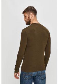 Zielona koszulka z długim rękawem Guess Jeans na co dzień, casualowa