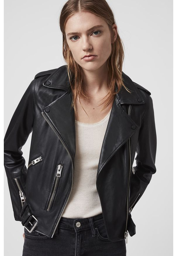 Czarna kurtka AllSaints bez kaptura, casualowa, na co dzień