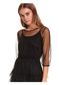 TOP SECRET - Tiulowa sukienka z falbaną i gumą w pasie. Okazja: na imprezę. Kolor: czarny. Materiał: tiul, guma. Wzór: aplikacja. Sezon: zima #6
