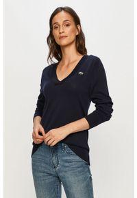 Niebieski sweter Lacoste casualowy, na co dzień, długi, z długim rękawem