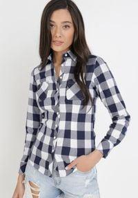 Born2be - Granatowo-Biała Koszula Lisixa. Kolor: niebieski. Materiał: jeans