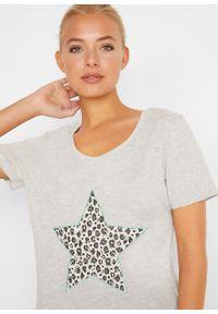 T-shirt z aplikacją bonprix jasnoszary melanż - zielony oceaniczny leo. Kolor: szary. Wzór: aplikacja, melanż #2