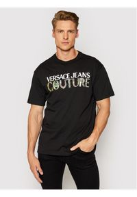 Versace Jeans Couture T-Shirt Logo Bijoux 71GAHF04 Czarny Regular Fit. Kolor: czarny
