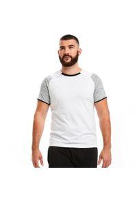 Biała koszulka do piłki nożnej KIPSTA z okrągłym kołnierzem