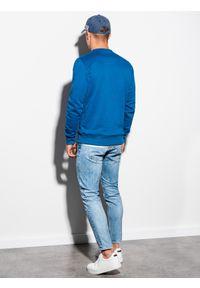 Ombre Clothing - Bluza męska bez kaptura B978 - niebieska - XXL. Okazja: na co dzień. Typ kołnierza: bez kaptura. Kolor: niebieski. Materiał: bawełna, materiał, poliester. Styl: klasyczny, casual