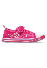 UNDERLINE - Trampki dziecięce Underline 10C1827 Różowe. Zapięcie: rzepy. Kolor: różowy. Materiał: tkanina, skóra, guma