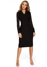 Style - Elegancka koktajlowa sukienka z szyfonowymi rękawami. Typ kołnierza: dekolt w kształcie V. Materiał: szyfon. Styl: wizytowy, elegancki