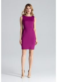 Figl - Bordowa Modna Ołówkowa Sukienka Bez Rękawów. Kolor: czerwony. Materiał: poliester, wiskoza, lycra. Długość rękawa: bez rękawów. Typ sukienki: ołówkowe