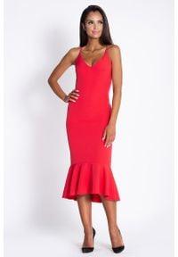 Dursi - Midi Sukienka na Ramiączkach z Falbanką - Czerwona. Kolor: czerwony. Materiał: elastan, poliester. Długość rękawa: na ramiączkach. Długość: midi