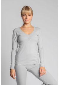 MOE - Bluzka Bawełniana z Długim Rękawem - Popielata. Kolor: szary. Materiał: bawełna. Długość: długie