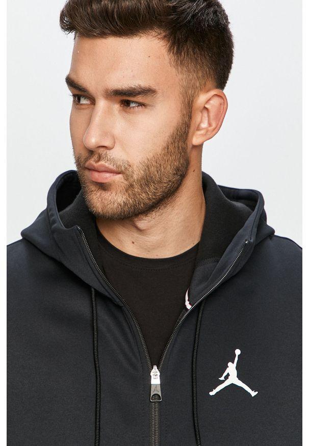 Czarna bluza rozpinana Jordan z kapturem, casualowa, na co dzień