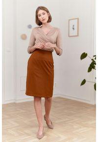 Marie Zélie - Spódnica Leto wełniana cynamonowa. Kolor: brązowy. Materiał: wełna