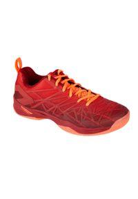 PERFLY - Buty halowe do badmintona BS990 męskie. Kolor: pomarańczowy, wielokolorowy, czerwony. Materiał: kauczuk