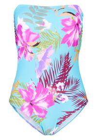 Kostium kąpielowy bandeau bonprix turkusowo-różowy z nadrukiem. Kolor: niebieski. Wzór: nadruk