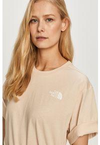 The North Face - T-shirt. Okazja: na co dzień. Kolor: beżowy. Materiał: dzianina. Wzór: gładki. Styl: casual