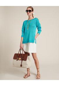 Luisa Spagnoli - LUISA SPAGNOLI - Turkusowy sweter Cascate. Kolor: zielony. Materiał: wiskoza, len. Długość rękawa: długi rękaw. Długość: długie