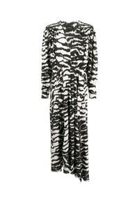 ISABEL MARANT - Jedwabna sukienka ze wzorem zebry. Okazja: na co dzień. Kolor: czarny. Materiał: jedwab. Długość rękawa: długi rękaw. Wzór: motyw zwierzęcy. Typ sukienki: asymetryczne. Styl: klasyczny, casual. Długość: maxi