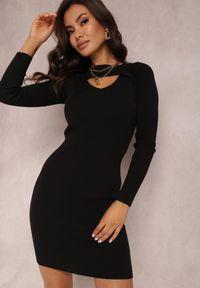 Renee - Czarna Sukienka Hesiolea. Kolor: czarny. Materiał: wiskoza, dzianina. Długość rękawa: długi rękaw. Wzór: prążki, aplikacja. Długość: mini