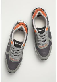 Szare sneakersy Blauer z cholewką, z okrągłym noskiem, na sznurówki