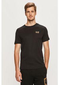 Czarny t-shirt EA7 Emporio Armani na co dzień, z okrągłym kołnierzem, casualowy