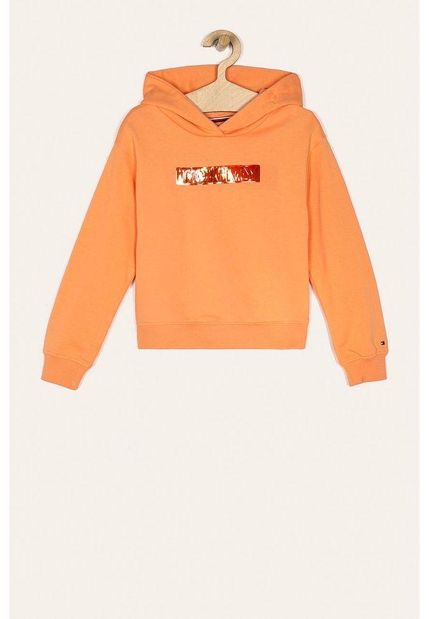 Pomarańczowa bluza TOMMY HILFIGER z aplikacjami, na co dzień, z kapturem, casualowa