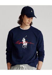 Ralph Lauren - RALPH LAUREN - Granatowa bluza Big Pony. Typ kołnierza: bez kaptura, polo. Kolor: niebieski. Materiał: bawełna, prążkowany. Długość rękawa: długi rękaw. Długość: długie. Wzór: nadruk