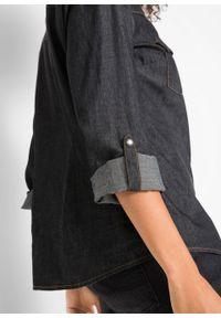 Bluzka dżinsowa z napami, długi rękaw bonprix czarny. Kolor: czarny. Długość rękawa: długi rękaw. Długość: długie