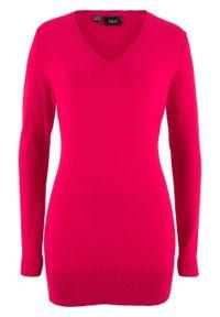 Długi sweter basic z dekoltem w serek bonprix czerwony. Typ kołnierza: dekolt w serek. Kolor: czerwony. Materiał: dzianina. Długość: długie. Wzór: gładki, ze splotem