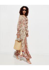 Camilla - CAMILLA - Jedwabna koszula z wiązaniem. Okazja: na co dzień. Kolor: beżowy. Materiał: jedwab. Wzór: aplikacja, motyw zwierzęcy. Styl: elegancki, casual