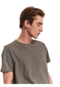 TOP SECRET - T-shirt krótki rękaw męski gładki. Okazja: na co dzień. Kolor: szary. Materiał: bawełna, tkanina. Długość rękawa: krótki rękaw. Długość: krótkie. Wzór: gładki. Styl: klasyczny, casual