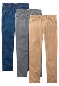 """Luźniejsze spodnie chłopięce z gumką w talii (3 pary w opak.) bonprix dymny szary + niebieski """"stone"""" + cappuccino. Kolor: szary"""