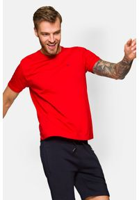 Lancerto - Koszulka Czerwona Mark. Okazja: na co dzień. Kolor: czerwony. Materiał: włókno, materiał, bawełna. Wzór: aplikacja. Sezon: lato, jesień, wiosna, zima. Styl: klasyczny, casual