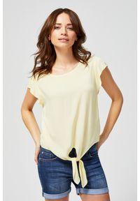 Żółta koszula MOODO z koszulowym kołnierzykiem, krótka, z krótkim rękawem