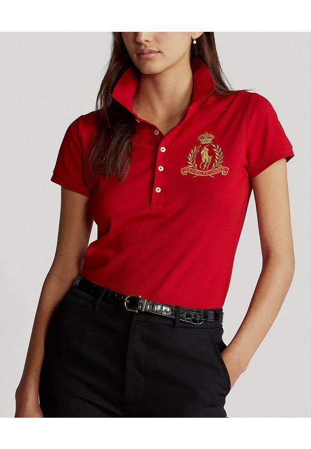 Ralph Lauren - RALPH LAUREN - Koszulka polo Slim Fit. Typ kołnierza: polo. Kolor: czerwony. Materiał: bawełna, prążkowany. Wzór: haft. Styl: klasyczny