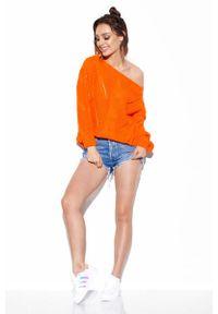Pomarańczowy sweter oversize Lemoniade w ażurowe wzory