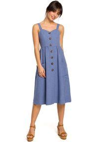 MOE - Niebieska Midi Sukienka na Szelkach z Ozdobnymi Guzikami. Kolor: niebieski. Materiał: len, poliester. Długość: midi