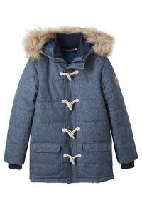 Niebieska kurtka bonprix z kapturem, klasyczna, na zimę