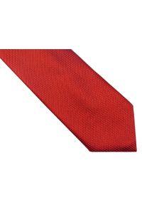 Modini - Czerwony krawat w kropki D160. Kolor: czerwony. Materiał: tkanina, mikrofibra. Wzór: kropki