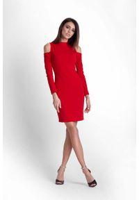 Czerwona sukienka wizytowa IVON ołówkowa, ze stójką