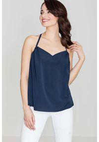 Katrus - Granatowa Bluzka na Cienkich Ramiączkach. Kolor: niebieski. Materiał: elastan, wiskoza, poliester. Długość rękawa: na ramiączkach